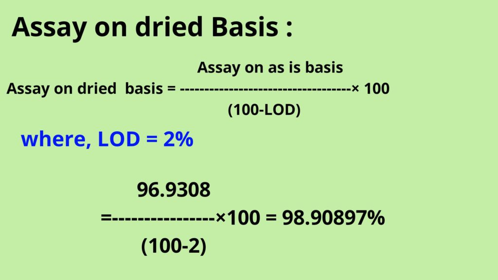 Assay on dried basis