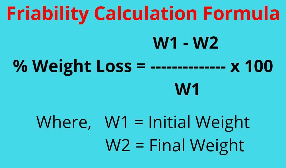 Friability calculation formula