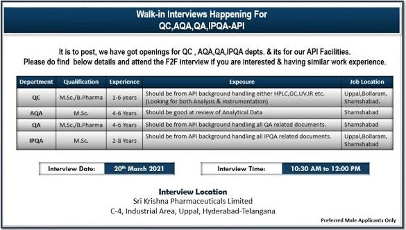 Shri Krishna Pharmaceutical Walk-In-Interview For QA-QC-AQA-IPQA