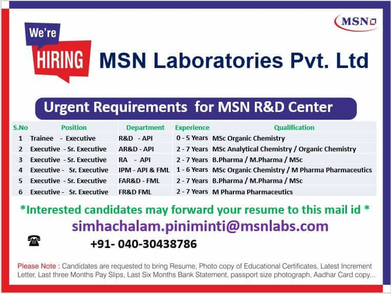 MSN Laboratories Multiple Openings For RA