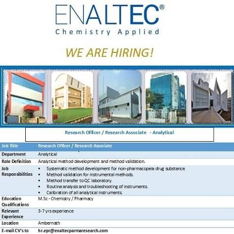 Enaltec Labs Pvt Ltd Hiring For Analytical/QC