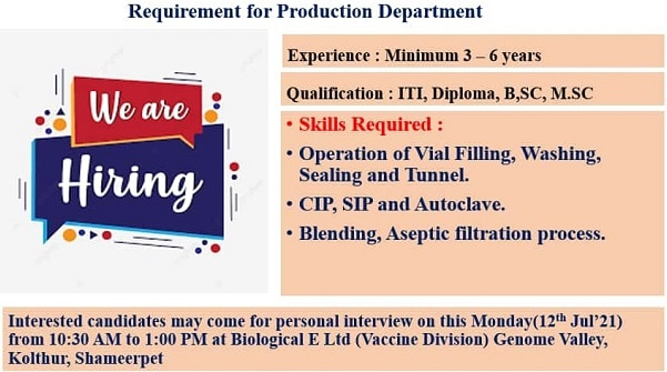 biological-e-limited-walk-in-interview